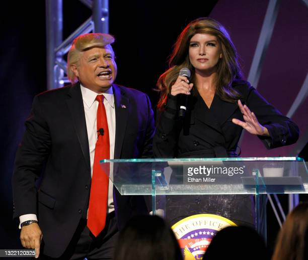 Actor, comedian, writer and impressionist John Di Domenico as former U.S. President Donald Trump and actress, comedian and model Eugenia Kuzmina as...