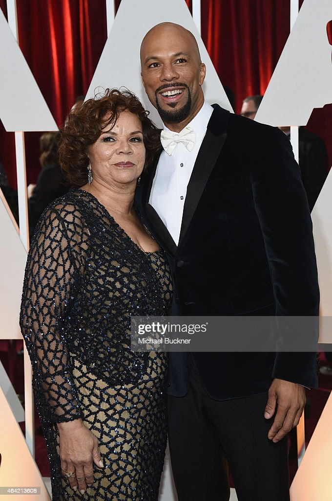 Actor Common and his mother Mahalia Ann Hines attend the 87th Annual Academy Awards at Hollywood & Highland Center on February 22, 2015 in Hollywood, California.