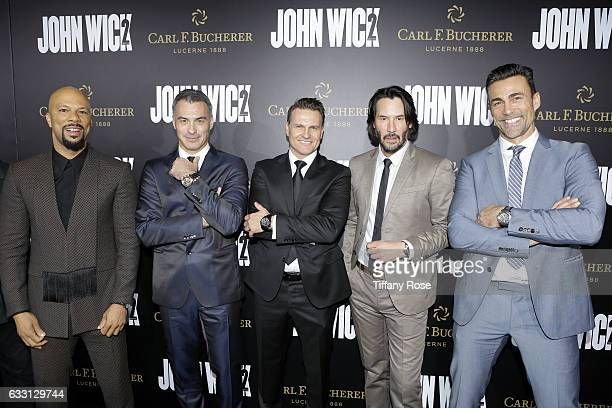 Actor Common director Chad Stahelski Carl F Bucherer CEO Sascha Moeri actor Keanu Reeves and actor Daniel Bernhardt attend the premiere of 'John Wick...