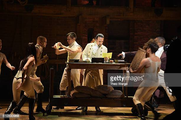 Actor composer LinManuel Miranda is seen on stage during 'Hamilton' GRAMMY performance for The 58th GRAMMY Awards at Richard Rodgers Theater on...