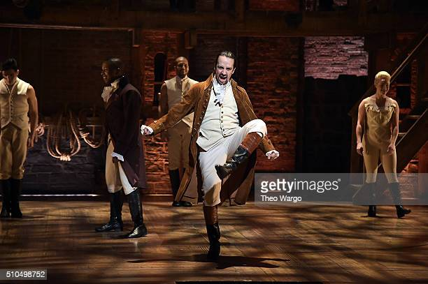 Actor composer LinManuel Miranda performs on stage during 'Hamilton' GRAMMY performanc rehearsal for The 58th GRAMMY Awards at Richard Rodgers...