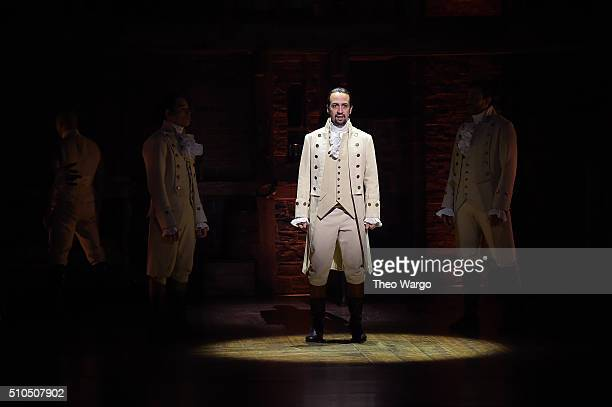 Actor composer LinManuel Miranda performs on stage during Hamilton GRAMMY performance for The 58th GRAMMY Awards at Richard Rodgers Theater on...