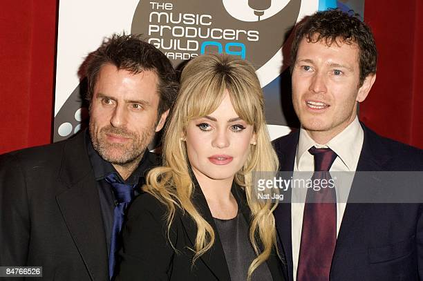 Actor Con O'Neil singer Duffy and Director Nick Moran pose at the Music Producers Guild Awards at Cafe de Paris on February 12 2009 in London England