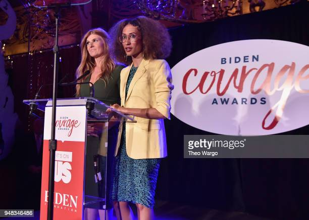 Actor Connie Britton and Writer Elaine Welteroth speak onstage at the Biden Courage Awards Presented by It's On Us at the Russian Tea Room on April...