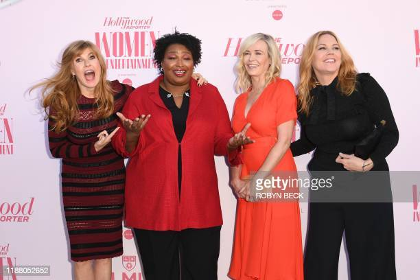 Actor Connie Britton politician Stacey Abrams actorproducer Chelsea Handler and actor Mary McCormack attend the Hollywood Reporter's annual Women in...