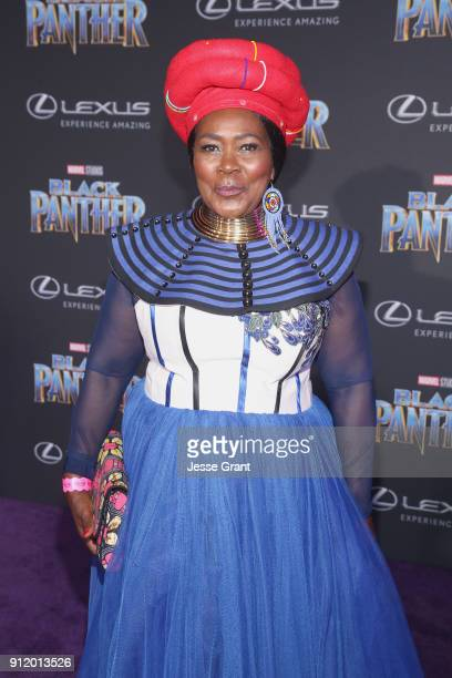 Actor Connie Chiume at the Los Angeles World Premiere of Marvel Studios' BLACK PANTHER at Dolby Theatre on January 29 2018 in Hollywood California