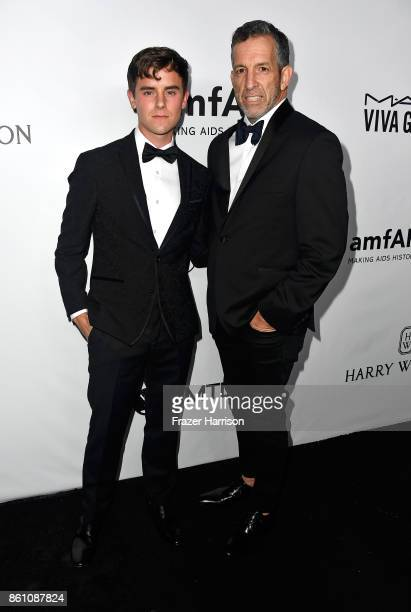 Actor Connor Franta and designer Kenneth Cole attend the amfAR Gala at Ron Burkle's Green Acres Estate on October 13 2017 in Beverly Hills California