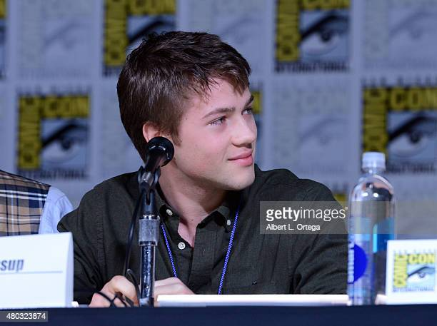 Actor Connor Jessup speaks onstage at the Falling Skies The Farewell panel during ComicCon International 2015 at the San Diego Convention Center on...