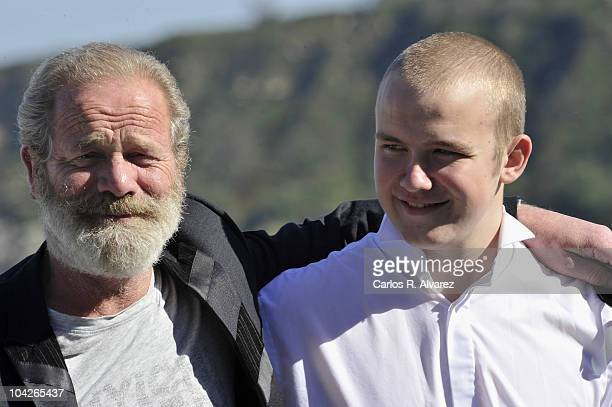 Actor Connor McCarron and director Peter Mullan attend 'Neds' photocall during the 58th San Sebastian International Film Festival on September 19...