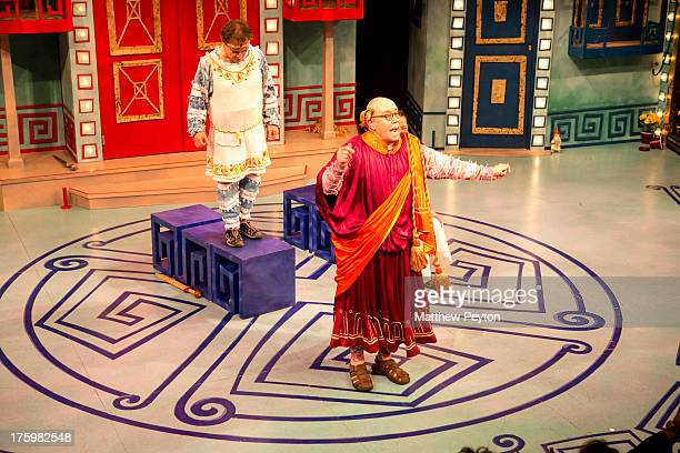 Actor Conrad John Shuck takes a bow at Opening Night: A Funny Thing Happened On The Way To The Forum at Bay Street Theatre on August 10, 2013 in Sag...