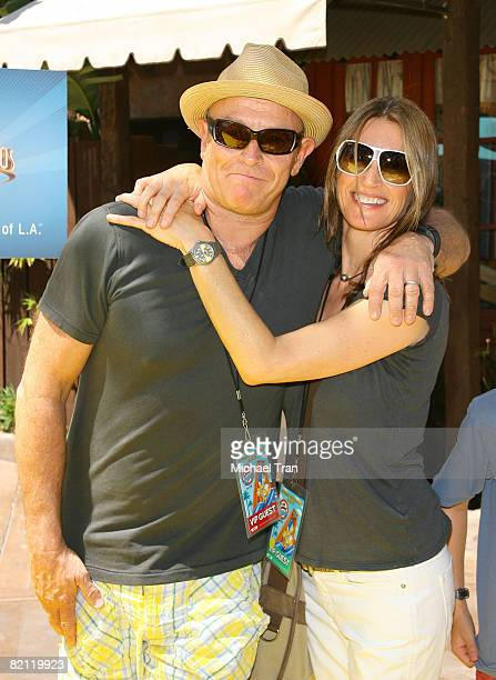 Actor Corbin Bernsen and wife Amanda Pays arrive at the launch party for The Simpson's Ride held at Universal Studios Hollywood on May 17 2008 in...