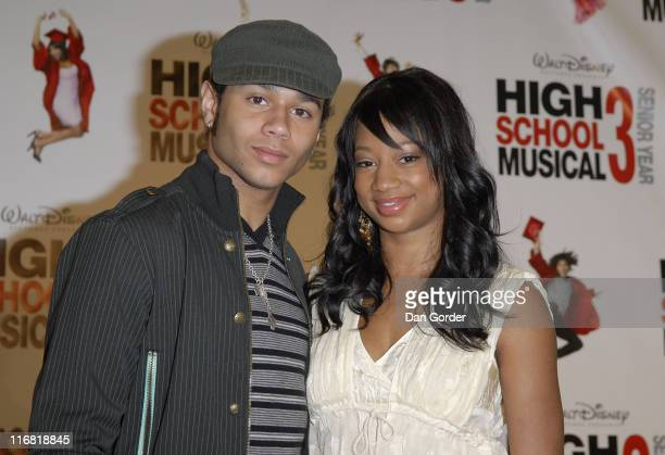 Actor Corbin Bleu and actress Monique Coleman attend the High School Musical 3 Senior Year Press Conference on May 2 2008 in Salt Lake City Utah