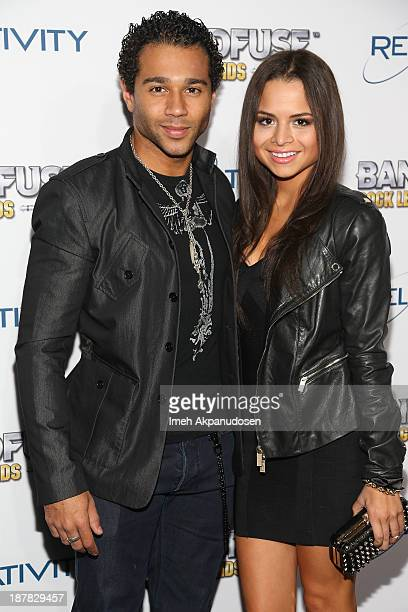 Actor Corbin Bleu and actress Sasha Clements attend the BandFuse Rock Legends video game launch event at House of Blues Sunset Strip on November 12...