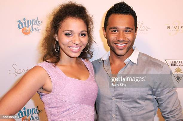 Actor Corbin Bleu and his sister Hunter Reivers arrive at Blake Michael's 18th Birthday on Riviera 31 on August 9 2014 in Beverly Hills California