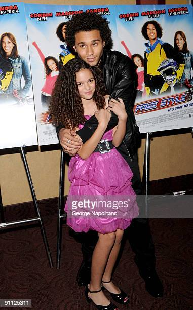 Actor Corbin Bleu and Madison Pettis attend the Free Style premiere at the Chelsea Clearview Cinema 9 on September 24 2009 in New York City