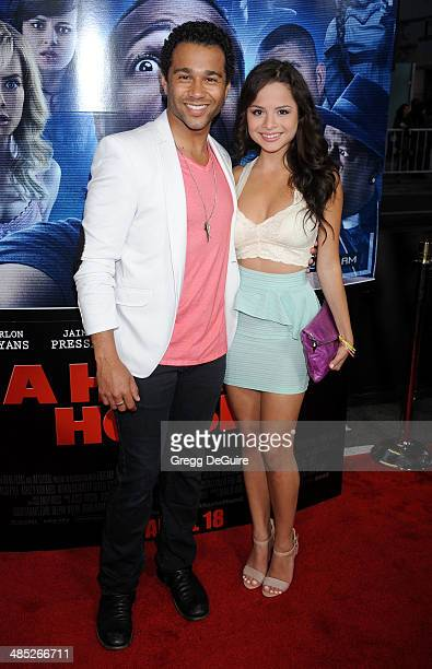 Actor Corbin Bleu and Sasha Clements arrive at the Los Angeles premiere of 'A Haunted House 2' at Regal Cinemas LA Live on April 16 2014 in Los...