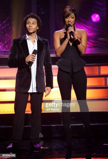 Actor Corbin Bleu and singer Keri Hilson speak onstage during 2009 VH1 Divas at Brooklyn Academy of Music on September 17 2009 in New York City