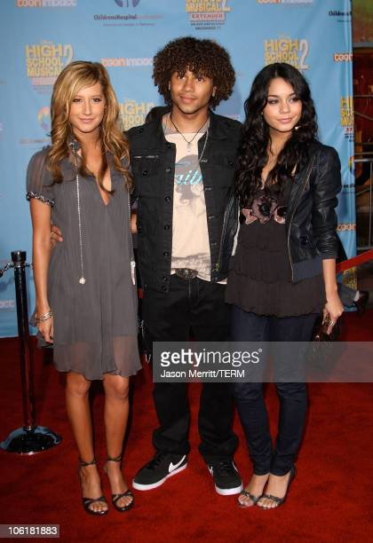 Actor Corbin Bleu Ashley Tisdale and actress Vanessa Hudgens pose at the DVD release of Disney Channels' 'High School Musical 2 Extended Edition' at...