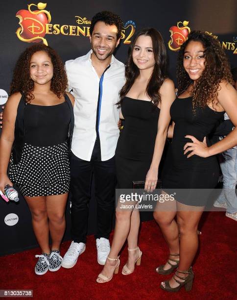 Actor Corbin Bleu wife Sasha Clements and sisters attend the premiere of 'Descendants 2' at The Cinerama Dome on July 11 2017 in Los Angeles...
