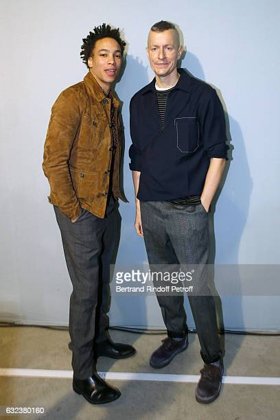Actor Corentin Fila and Stylist of 'Lanvin Men' Lucas Ossendrijver attend the Lanvin Menswear Fall/Winter 20172018 show as part of Paris Fashion Week...