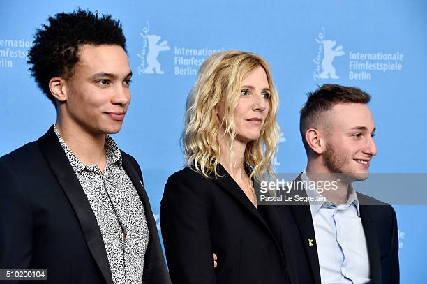 Actor Corentin FilaActress Sandrine Kiberlain and Actor Kacey Mottet Klein attend the 'Being 17' photo call during the 66th Berlinale International...