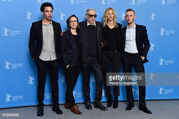Actor Corentin FilaWriter Celine SciammaDirector Andre TechineActress Sandrine Kiberlain and Actor Kacey Mottet Klein attend the 'Being 17' photo...