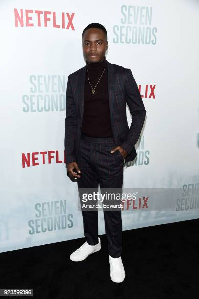 Actor Corey Champagne arrives at Netflix's 'Seven Seconds' Premiere at The Paley Center for Media on February 23 2018 in Beverly Hills California