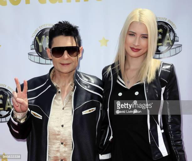 Actor Corey Feldman and his wife model Courtney Anne Mitchell attend the 3rd Annual Young Entertainer Awards at The Globe Theatre on April 15, 2018...