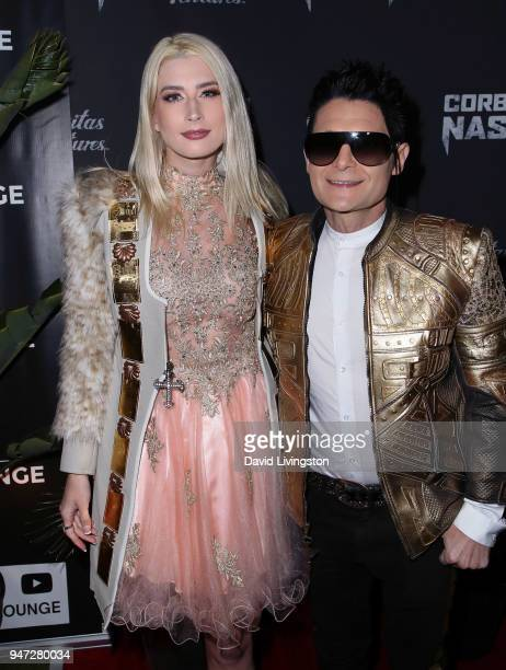 Actor Corey Feldman and model Courtney Anne Mitchell attend the Corbin Nash premiere screening at The Montalban on April 16 2018 in Hollywood...