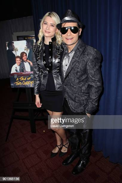 Actor Corey Feldman and wife model Courtney Anne Mitchell attend a screening of A Tale of Two Coreys at ArcLight Sherman Oaks on January 4 2018 in...