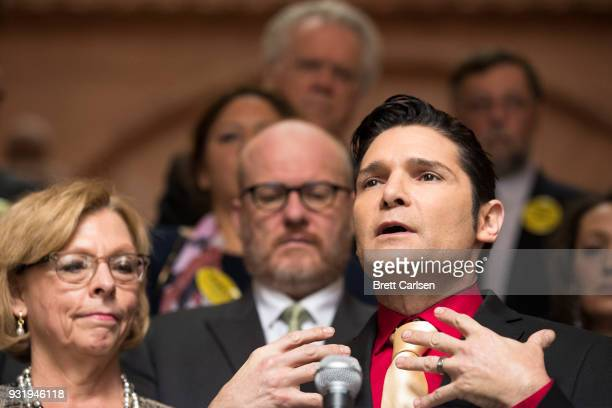 Actor Corey Feldman speaks in support of the Child Victims Act on March 14 2018 at the New York State Capitol in Albany New York