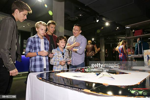Actor Corey Fogelmanis guest actorÊPeyton Meyer and actorÊAugust Maturo at Backstage Creations Retreat at Teen Choice 2016 Day 2 at The Forum on July...