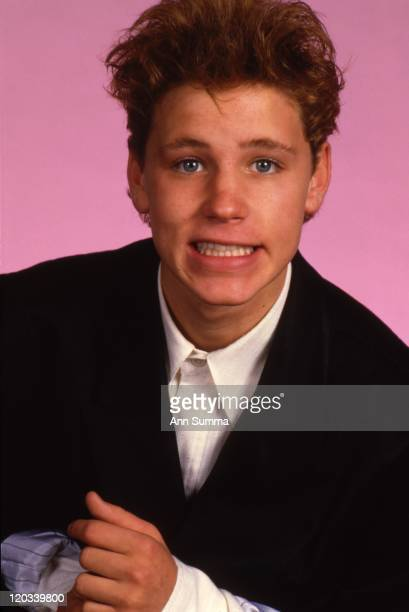 Actor Corey Haim poses for a portrait session in the studio in November 1987 in Los Angeles California