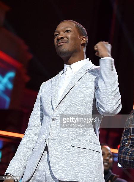 Actor Corey Hawkins accepts the True Story award for 'Straight Outta Compton' onstage during the 2016 MTV Movie Awards at Warner Bros Studios on...