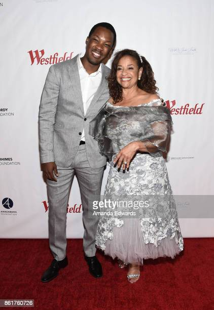 Actor Corey Hawkins and actress Debbie Allen arrive at the Sunday Matinee Of 'Turn Me Loose' at the Wallis Annenberg Center for the Performing Arts...