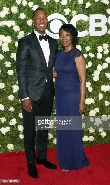 Actor Corey Hawkins and his grandmother attend the 71st Annual Tony Awards at Radio City Music Hall on June 11 2017 in New York City