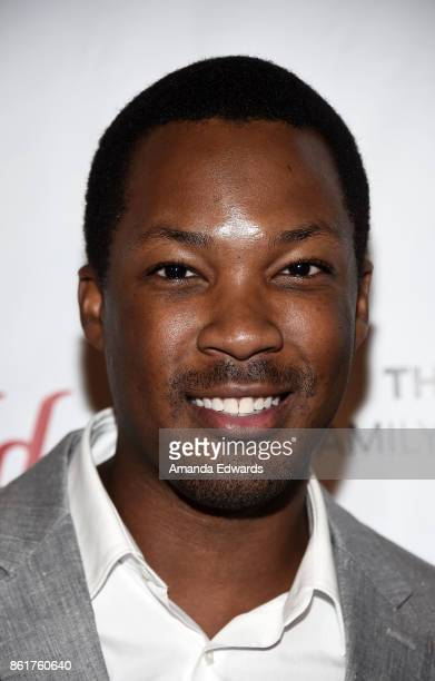 Actor Corey Hawkins arrives at the Sunday Matinee Of 'Turn Me Loose' at the Wallis Annenberg Center for the Performing Arts on October 15 2017 in...