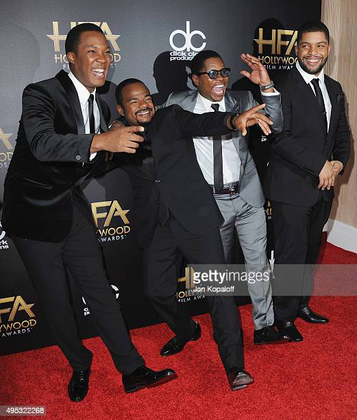 Actor Corey Hawkins director F Gary Gray actor Jason Mitchell and actor O'Shea Jackson Jr arrive at the 19th Annual Hollywood Film Awards at The...