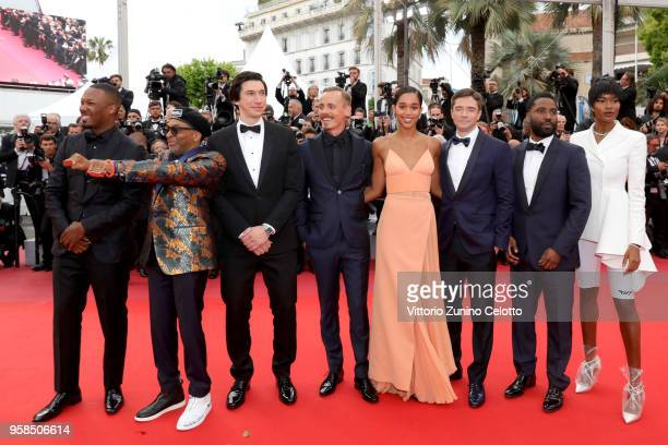 Actor Corey Hawkins director Spike Lee wearing knuckle rings with love and hate on them actors Adam Driver Jasper Paakkonen Laura Harrier Topher...