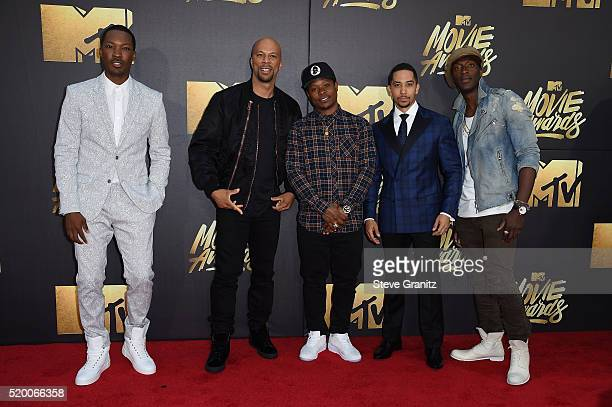 Actor Corey Hawkins recording artist Common actors Jason Mitchell Neil Brown Jr and Aldis Hodge attend the 2016 MTV Movie Awards at Warner Bros...