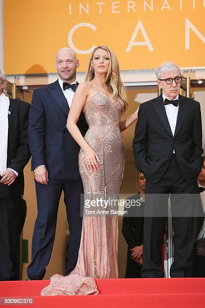 Actor Corey Stoll, actress Blake Lively and director Woody Allen attend the 'Cafe Society' premiere and the Opening Night Gala during the 69th annual...