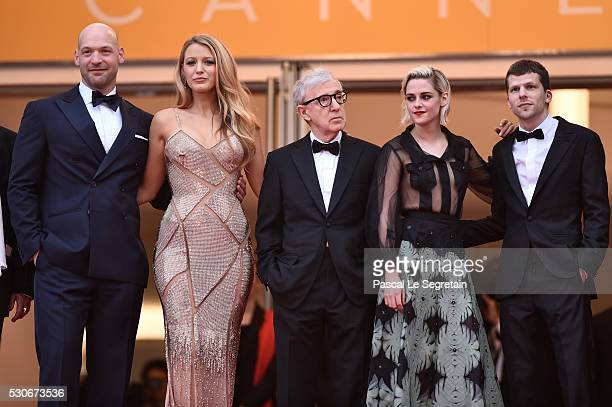 Actor Corey Stoll actress Blake Lively director Woody Allen actress Kristen Stewart and actor Jesse Eisenberg attend the 'Cafe Society' premiere and...