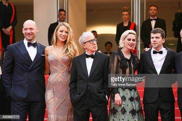 Actor Corey Stoll, actress Blake Lively, director Woody Allen, Kristen Stewart and actor Jesse Eisenberg attend the 'Cafe Society' premiere and the...