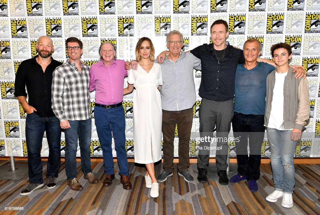 Actor Corey Stoll, writer/producer Chuck Hogan, actors David Bradley, Ruta Gedmintas, writer/producer Carlton Cuse, actors Kevin Durand, Richard Sammel and Max Charles at Comic-Con's 5th Annual 'Musical Anatomy Of A Superhero Film Composer' Panel at Hilton Bayfront during Comic-Con International 2017 on July 20, 2017 in San Diego, California.