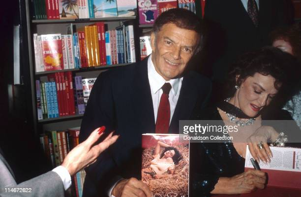 Actor Cornel Wilde and actress Jane Russell pose for a portrait in 1986 in Los Angeles California