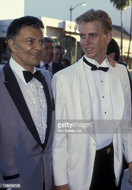 "Actor Cornel Wilde and son Cornel Wilde Jr. Attend the screening of ""Pirates"" on July 17, 1986 at the Academy Theater in Beverly Hills, California."