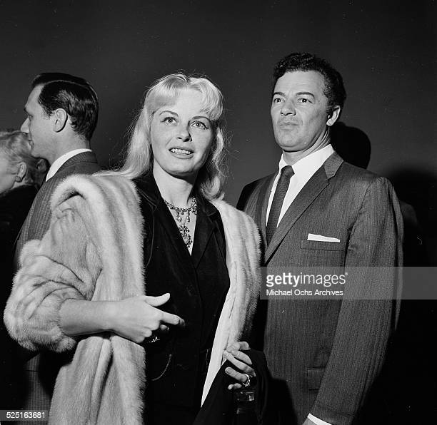 Actor Cornel Wilde and wife Jean Wallace attend an event in Los AngelesCA