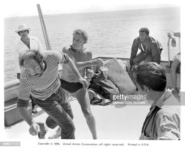 Actor Cornel Wilde on set of the movie Sharks' Treasure circa 1975