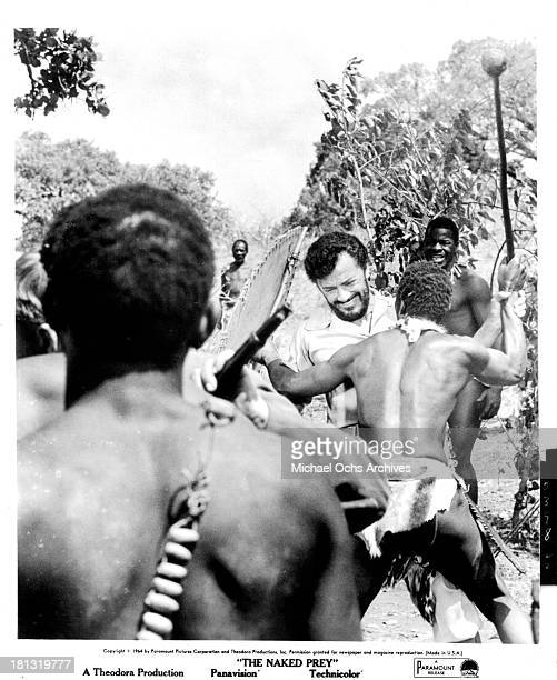 Actor Cornel Wilde on the set of the Paramount Release movie The Naked Prey in 1966