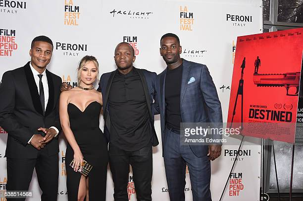 Actor Cory Hardrict actress Zulay Henao filmmaker Qasim Basir and actor Mo McRae attend the premiere of 'Destined' during the 2016 Los Angeles Film...